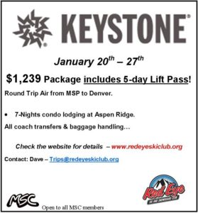Red Eye - Keystone Trip January 20-27, 2018